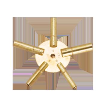 Keys For Clock, Brass 5 Prong 4-6-8-10-12