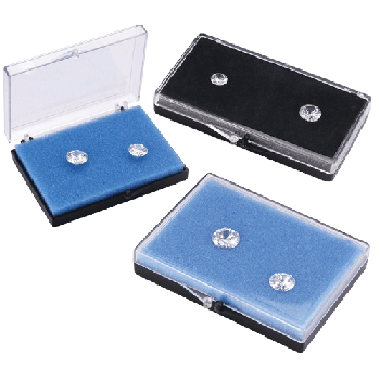 Plastic Shipping box for Diamond & Rough Stone. White/Blue foam inside