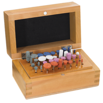 Abrasive Polishing Points In A Wooden Box Set/36
