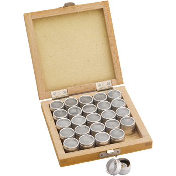 Box with 25 small Tins